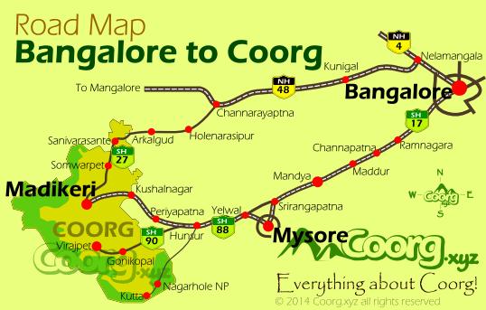 bangalore to mysore road map Mysore To Coorg bangalore to mysore road map