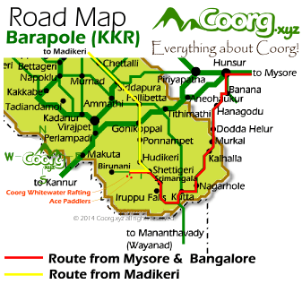 Driving directions to Barapole (KKR) , the Whitewater Rafting Base camp off Kutta