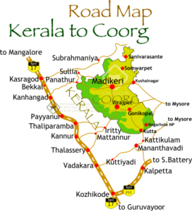 Kerala To Coorg - Kanhangad map