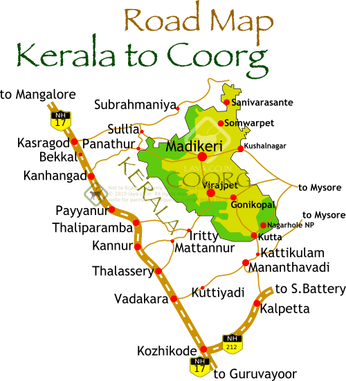 kerala to coorg road map